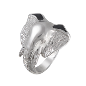 Кольцо Слон с фианитами и эмалью из серебра
