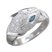 Кольцо Кошка с фианитами из серебра 925 пробы