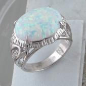 Кольцо с опалом и фианитами из серебра 925 пробы