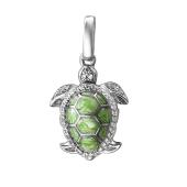 Подвеска Черепаха с эмалью и фианитами из серебра 925 пробы
