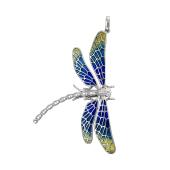 Кулон Срекоза из серебра с цветной эмалью