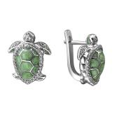 Серьги Черепаха с эмалью и фианитами из серебра 925 пробы