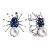 Серьги Паук с синей шпинелью и белым жемчугом из серебра 925 пробы