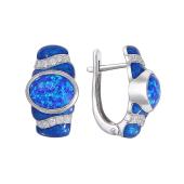 Серьги с опалом, фианитом и синей эмалью из серебра 925 пробы