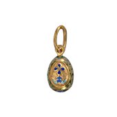 Кулон православный Яйцо Пасхальное с цветной эмалью, серебро с позолотой