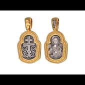 Икона Ангел Хранитель, на обороте крест восьмиконечный, серебро с позолотой и чернением