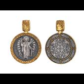 Ангел Хранитель в круглом окладе с молитвой, серебро с позолотой и чернением