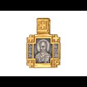 Икона Николай Чудотворец в крестообразном окладе, серебро с позолотой и чернением