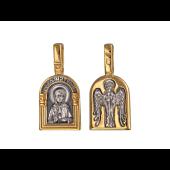 Образок Святая блаженная Матрона Московская. Ангел Хранитель, серебро с позолотой