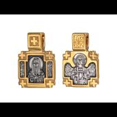 Икона Святитель Алексей в крестообразном окладе, на обороте Ангел Хранитель, серебро с позолотой и чернением