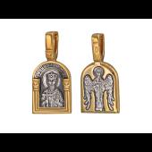 Икона Святой Владимир, на обороте Ангел Хранитель, серебро с позолотой и чернением