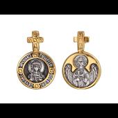 Святой Мученик Георгий Победоносец в круглом окладе, на обороте Ангел Хранитель, серебро с позолотой и чернением