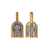 Святая Царица Елена, на обороте Ангел Хранитель, серебро с позолотой и чернением