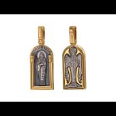 Пресвятой Сергий Радонежский, на обороте Ангел Хранитель, серебро с позолотой и чернением