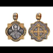 Николай Чудотворец в окладе с крестом на обороте, серебро с позолотой и чернением