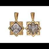 Икона Святая великомученица Марина (Маргарита), на обороте Ангел Хранитель, серебро с позолотой и чернением