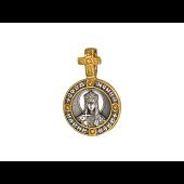 Икона Святая мученица царица Александра в круглом окладе, на обороте Ангел Хранитель, серебро с позолотой и чернением