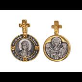 Любовь Святая Мученица в круглом окладе с крестом, на обороте Ангел Хранитель, серебро с позолотой и чернением
