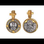 Людмила Чешская Святая Мученица в круглом окладе с крестом, на обороте Ангел Хранитель, серебро с позолотой и чернением