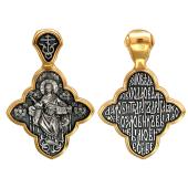 Господь Вседержитель в крестовидном окладе с молитвой на обороте, серебро с позолотой и чернением