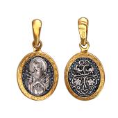 Семистрельная Икона Божьей Матери в овальном ажурном окладе, серебро с позолотой и чернением