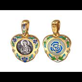 Семистрельная Икона Божьей Матери в окладе с цветами, Роза с цветной эмалью на обороте, серебро с позолотой и чернением
