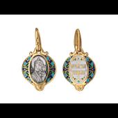 Казанская Икона Божьей Матери в круглом окладе с цветами из цветной эмали, серебро с позолотой и чернением