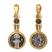 Икона Николай Чудотворец в круглом окладе, на обороте помощь морякам, серебро с позолотой и чернением