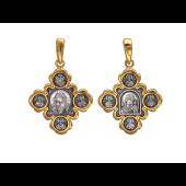 Крест православный с иконам из серебра с позолотой и чернением