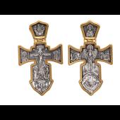 Распятие с иконами, на обороте Ангел Хранитель, серебро с позолотой и чернением