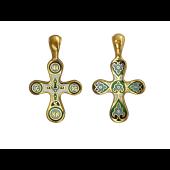 Крест православный с зелено-голубой эмалью, серебро с позолотой
