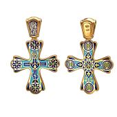 Крест православный с голубой эмалью Голгофа, Чудись Божию Чудному Чуду, серебро с позолотой