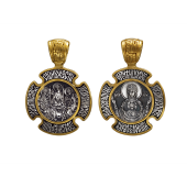 Икона Троица, на обороте Божия Матерь Знамение, серебро с позолотой и чернением