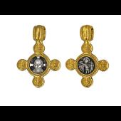 Крест с иконой Спас Нерукотворный, на обороте Ангел Хранитель, серебро с позолотой и чернением
