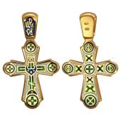 Крест православный сзеленой эмалью, серебро с позолотой