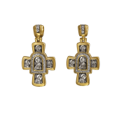 Крест с иконами Господь Вседержитель, на обороте Иверская икона Божией Матери, серебро с позолотой и чернением