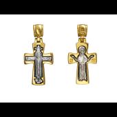 Крест православный Божья Матерь Оранта, серебро с позолотой