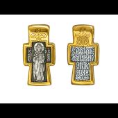 Крест православный Господь Вседержитель с молитвой, серебро с позолотой