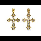 Крест православный с монограммой Христа, серебро с позолотой