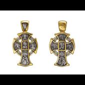 Крест православный с образами, серебро с позолотой