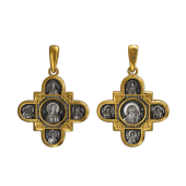 Крест православный Господь Вседержитель, Казанская икона Божией Матери и восемь святых, серебро с позолотой