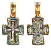 Крест православный с узорами и эмалью, серебро с позолотой