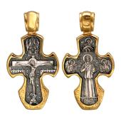 Крест православный Распятие. Матрона Московская из серебра с золотым покрытием