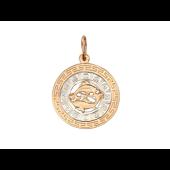 Кулон знак зодиака Рыбы в круге, греческий рисунок, символы зодиака по кругу, красное золото d=20мм