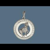 Кулон знак зодиака Овен в круге с греческим узором, серебро
