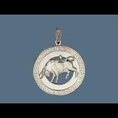 Кулон знак зодиака Телец в круге с греческим узором, серебро