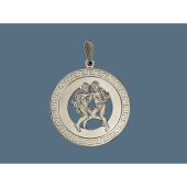 Кулон знак зодиака Близнецы в круге с греческим узором, серебро