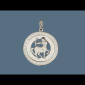 Кулон знак зодиака Стрелец в круге с греческим узором, серебро