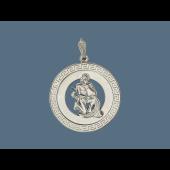 Кулон знак зодиака Водолей в круге с греческим узором, серебро