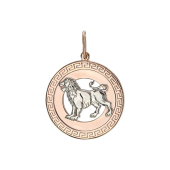 Кулон знак зодиака Лев в круге, греческий рисунок по кругу, красное золото